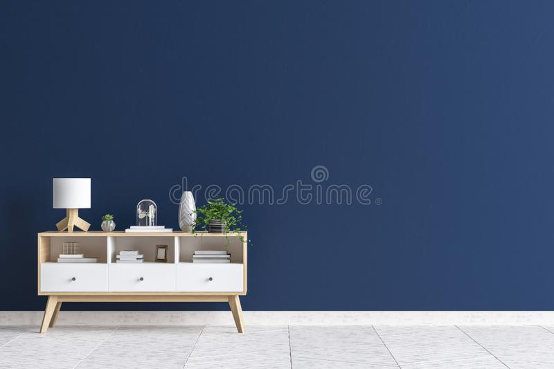 Chest of drawers in living room interior, dark blue wall mock up background. 3D render stock illustration