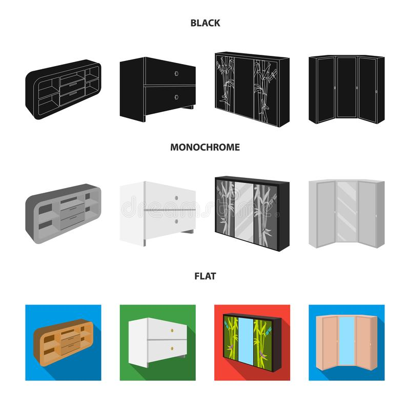 Chest of drawers, wardrobe with mirror, corner cabinet, white chest. Bedroom furniture set collection icons in black. Flat, monochrome style vector symbol vector illustration