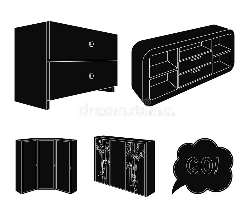 Chest of drawers, wardrobe with mirror, corner cabinet, white chest. Bedroom furniture set collection icons in black. Style vector symbol stock illustration stock illustration