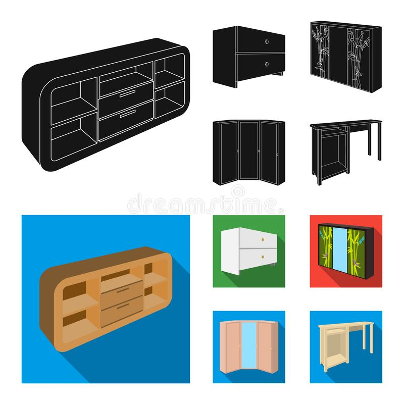 Chest of drawers, wardrobe with mirror, corner cabinet, white chest. Bedroom furniture set collection icons in black. Flat style vector symbol stock stock illustration