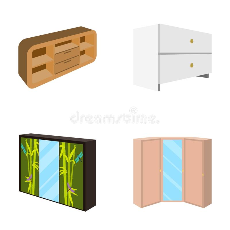 Chest of drawers, wardrobe with mirror, corner cabinet, white chest. Bedroom furniture set collection icons in cartoon. Style vector symbol stock illustration royalty free illustration