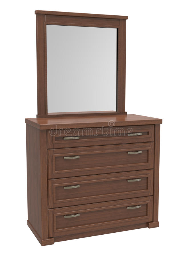 Chest of drawers. Wooden chest of drawers with a mirror on a white background vector illustration