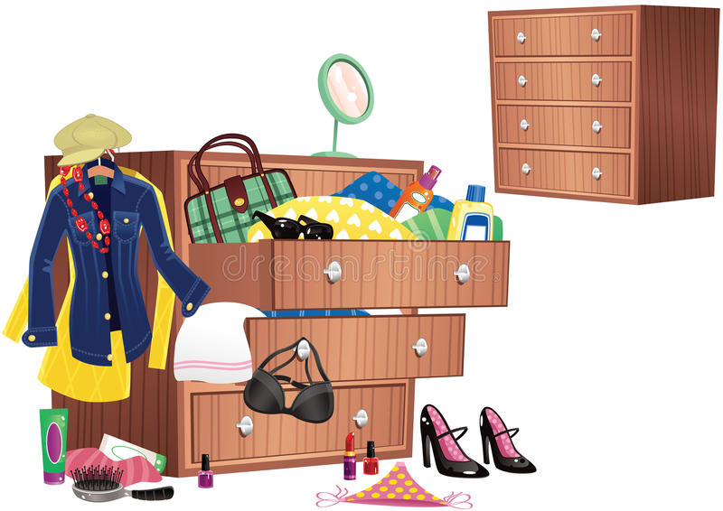 Chest of drawers. A wooden chest of drawers, with various clothing items spilling out onto the floor. E.P.S. 10 vector file included with image, isolated on stock illustration