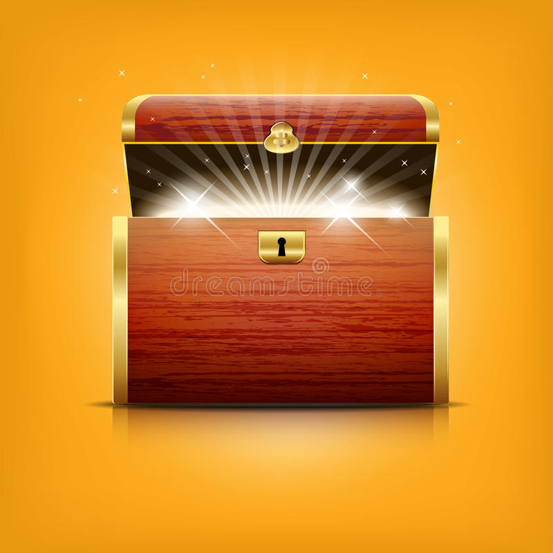 Chest with glowing treasure royalty free illustration