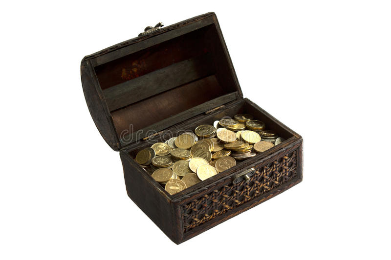 Chest with gold coins isolated on white background stock photography
