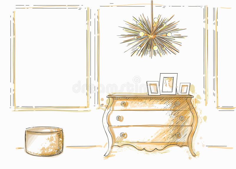 Chest, lamp, ottoman. The furniture in the interior. Chest, ceiling lamp, ottoman Sketch stock illustration