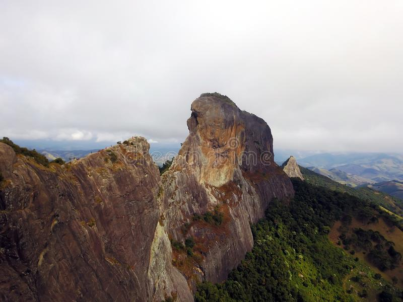 Chest stone. Pedra do Baú, located in the neighboring municipality of São Bento do Sapucaí, is one of the points sought by adventurers who seek to royalty free stock photo