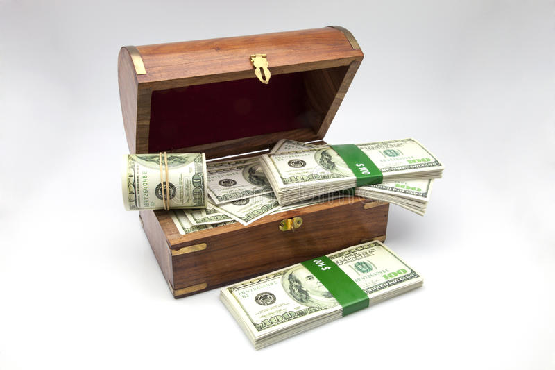 Chest of the treasure. Full of tickets stock photography