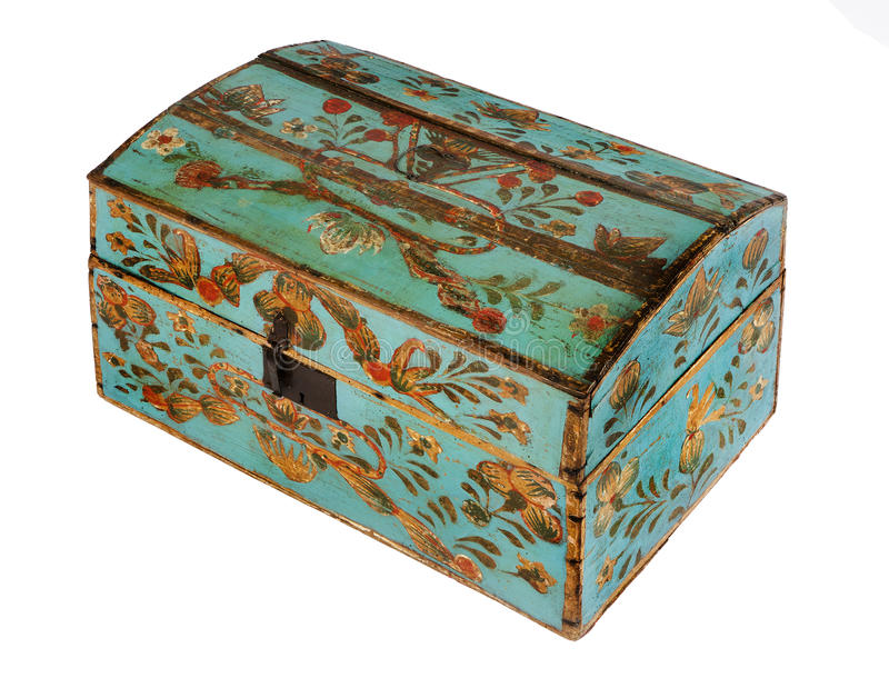 Chest or trunk hand painted decorative antique old original Euro. Old antique wooden painted chest or trunk decorative european blue gold leaf patern stock images