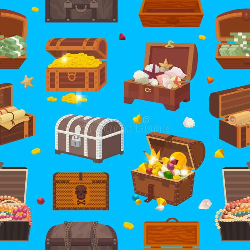 Free Chest Vector Treasure Box With Gold Money Wealth Or Wooden Pirate Chests With Golden Coins And Ancient Jewels Royalty Free Stock Image - 112232276