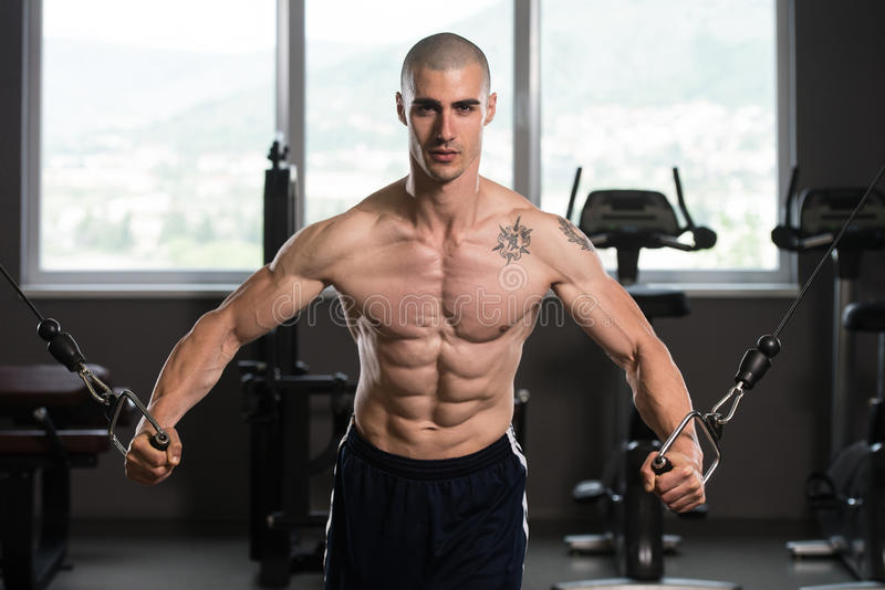 Chest Workout Cable Crossover In Gym. Young Bodybuilder Is Working On His Chest With Cable Crossover In Gym royalty free stock photos