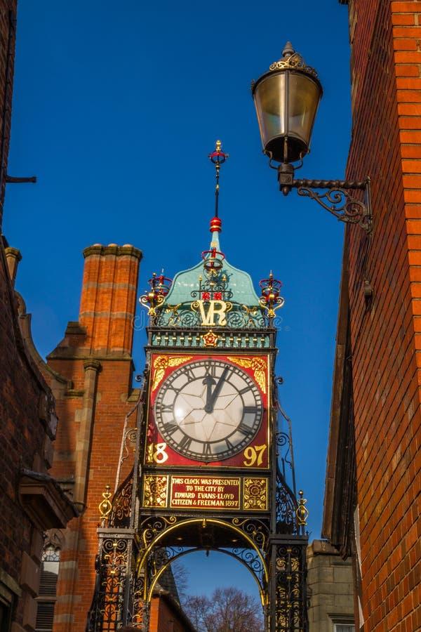 Chester, Anglia Eastgate zegar, portret obraz royalty free