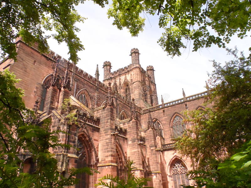 Chester cathedral. Couple in park stock images