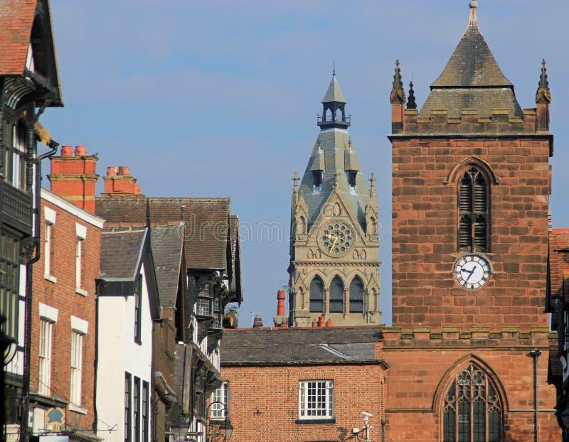 Chester Cathedral, grand-rue et tour d'horloge, Chester, R-U images libres de droits