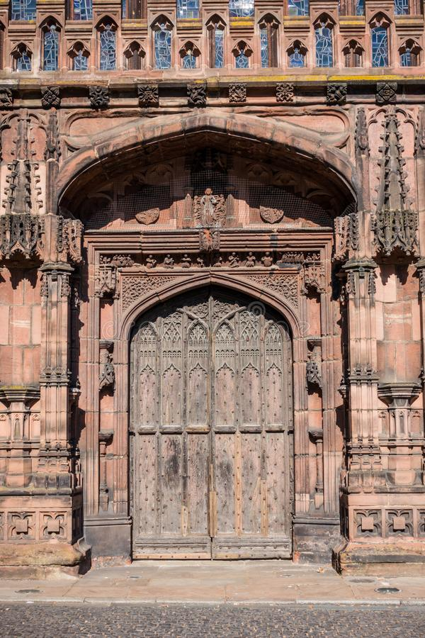 Chester Cathedral West front door, St Werburgh Street, England. royalty free stock image
