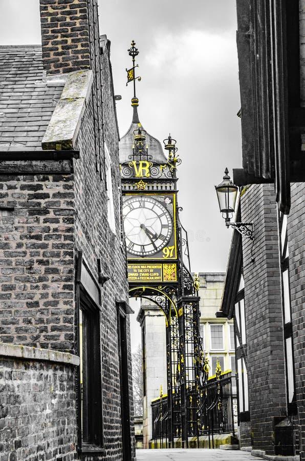 Chester City Clock Chester, England 20 Februari 2013 royaltyfri fotografi