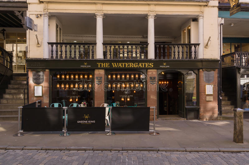 Chester City England. The Watergates a fine example of an undercroft a crypt like medieval basement or cellar now used as a bar and restaurant in the historic stock image