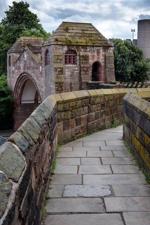 Chester City Wall, Engeland het UK stock afbeelding