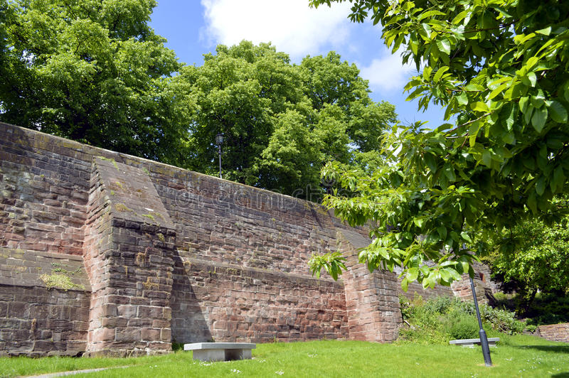 Chester City wall. Historical City wall around Chester in England royalty free stock photography