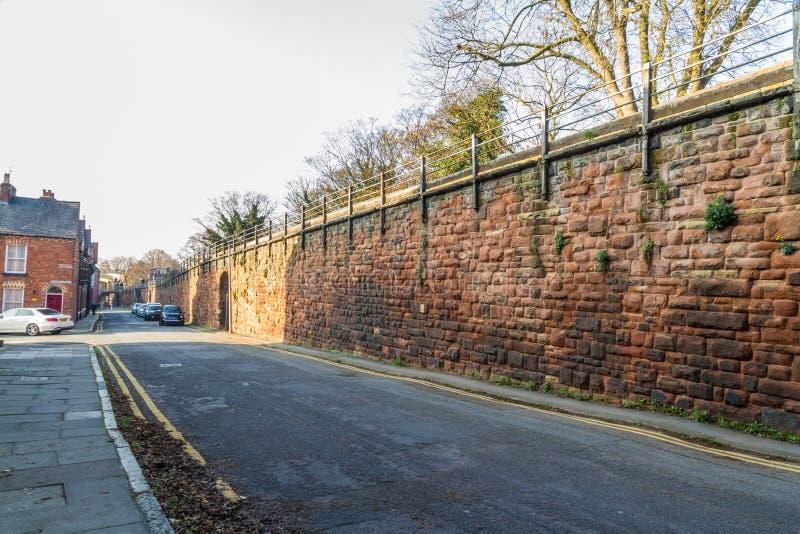 Chester City Wall på nord av stadsmitten royaltyfria foton
