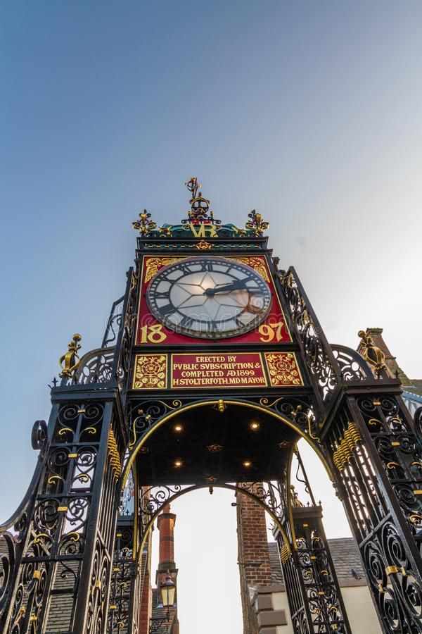 Chester, England, The Eastgate Clock, portrait, blue sky, wide angle royalty free stock photography
