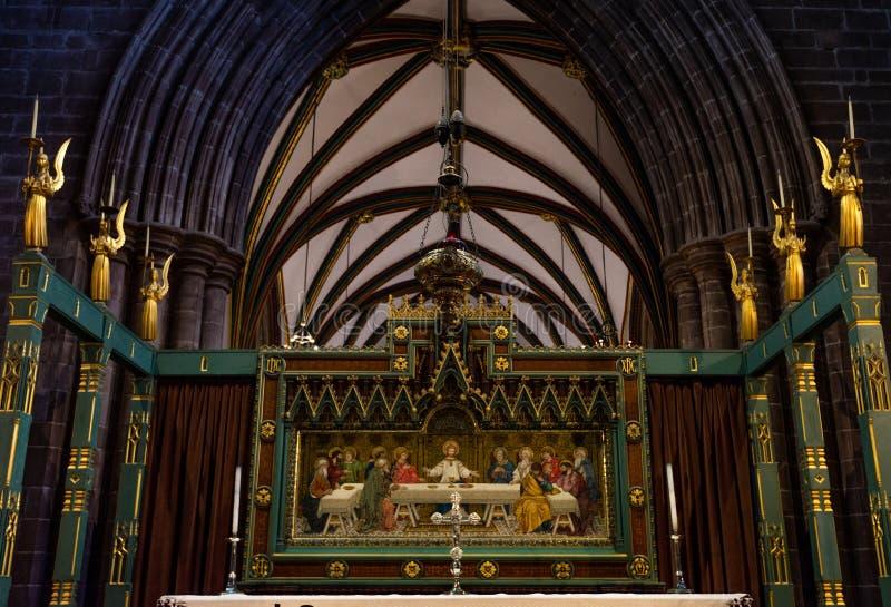 CHESTER, GROSSBRITANNIEN - 8. MÄRZ 2019: Ein Bild von Jesus hängt in Chester Cathedral stockfoto