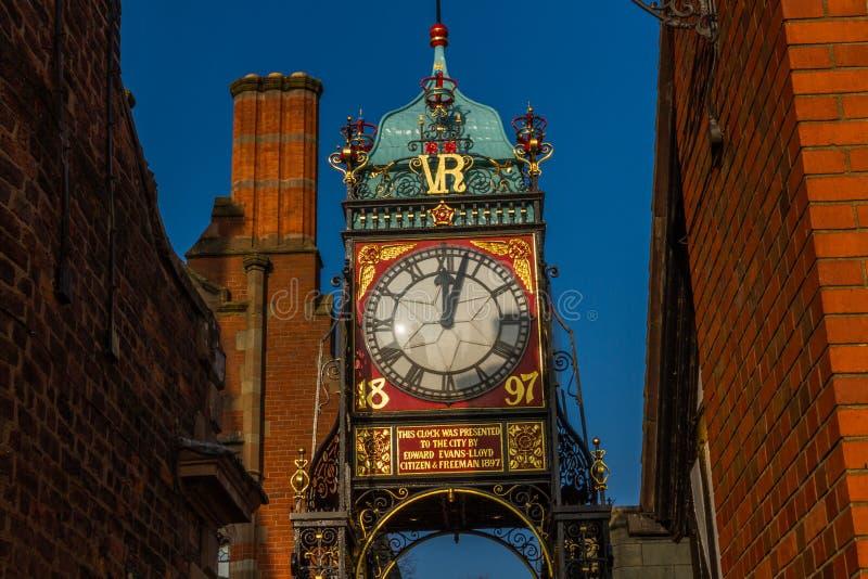 Chester, Inghilterra, l'orologio di Eastgate immagine stock