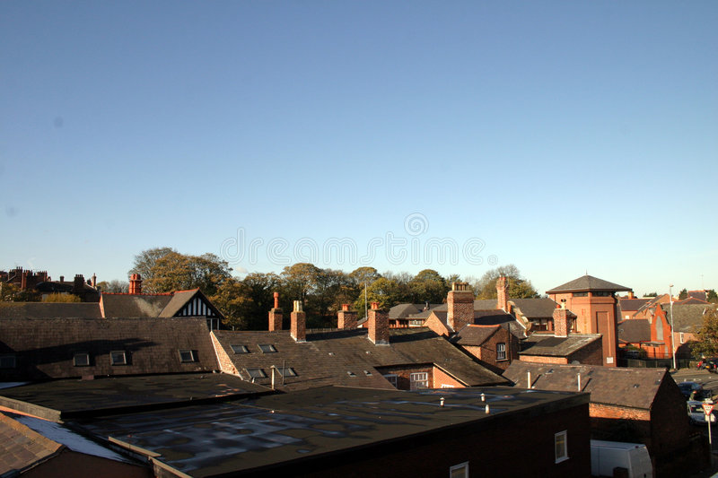 Chester Rooftops. View over Chester Rooftops in England royalty free stock photography