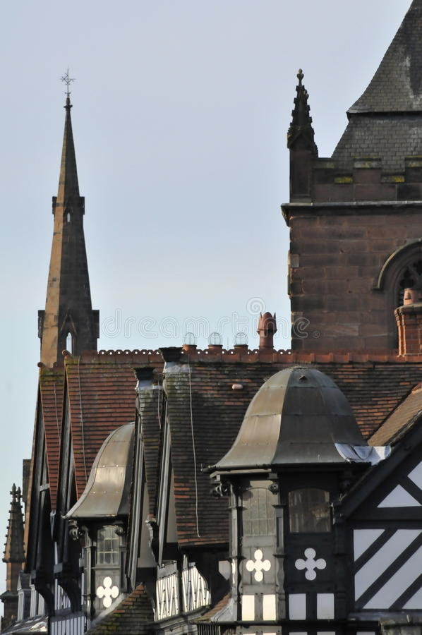 Chester rooftops. View down Foregate street in Chester royalty free stock photography