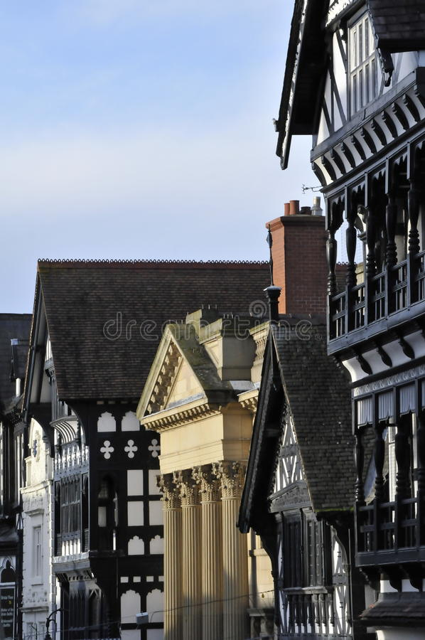 Chester rooftops. View down Foregate street in Chester royalty free stock photos