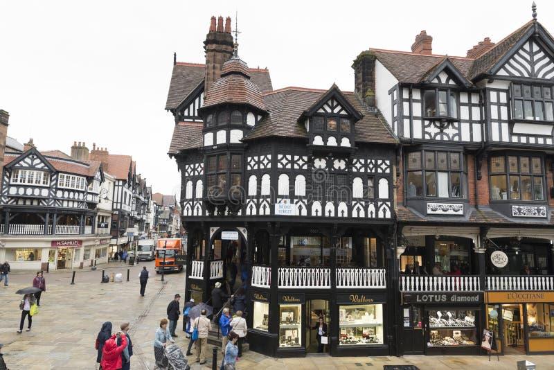 Chester Shopping Rows stockbilder