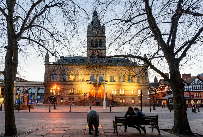 Chester Town Hall het UK stock afbeeldingen