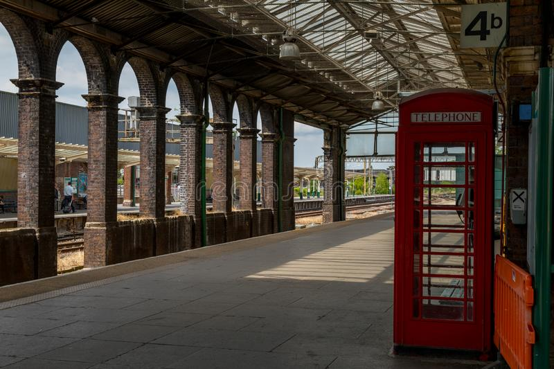 Chester Train Station with Classic English Red Telephone Box royalty free stock images