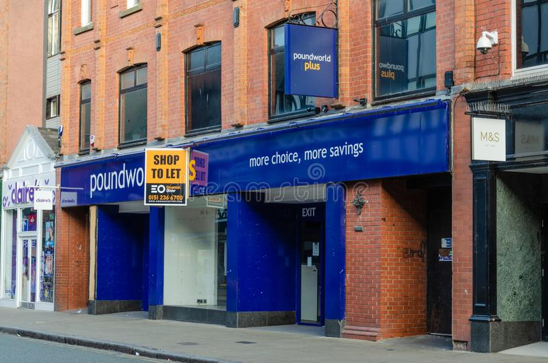 Vacant and closed Poundworld shop in Chester stock images