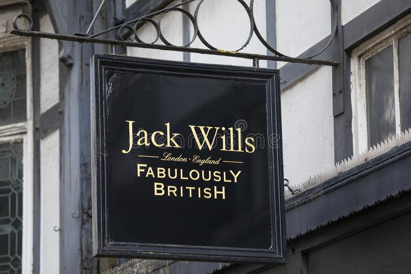 Jack Wills Shop. Chester, UK - July 31st 2018: The Jack Wills company logo above the entrance to one of their stores in the city of Chester, UK stock photography