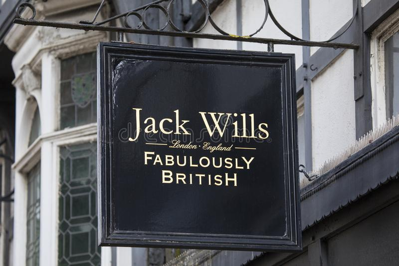 Jack Wills Shop. Chester, UK - July 31st 2018: The Jack Wills company logo above the entrance to one of their stores in the city of Chester, UK stock photo