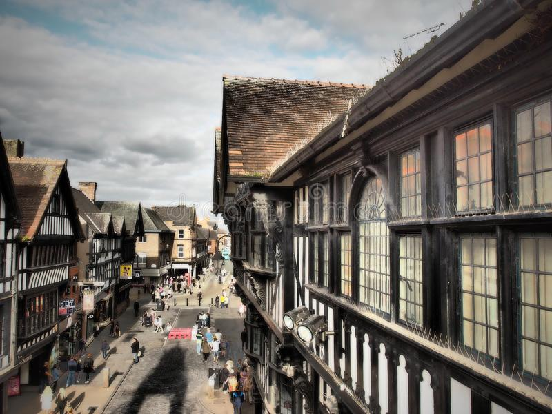 Chester is a walled city in Cheshire, England stock photography
