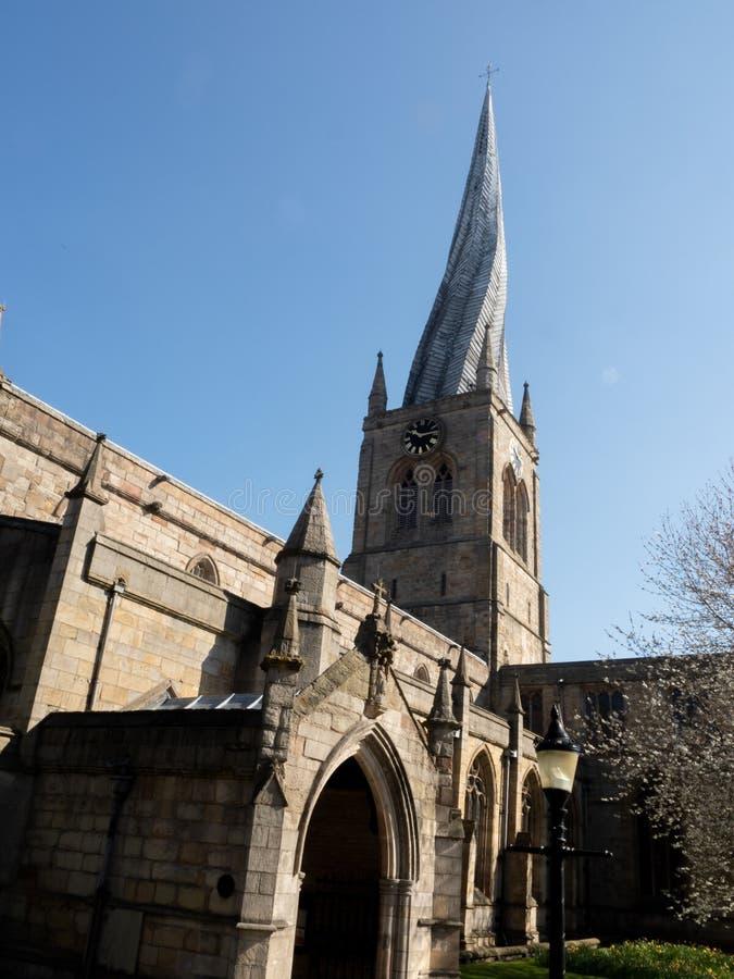 Chesterfield kościół Anglia, St Marys i Wszystkie Saints, Koślawy iglica kościół obrazy royalty free