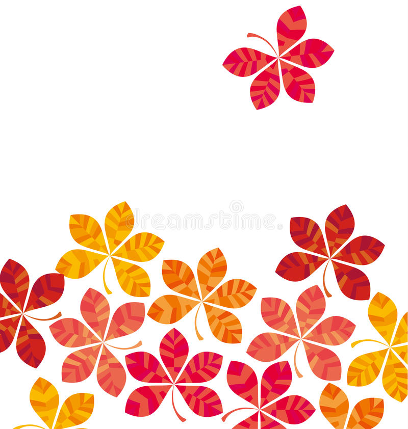Chestnut abstract stylized fall leaves card template. stock illustration