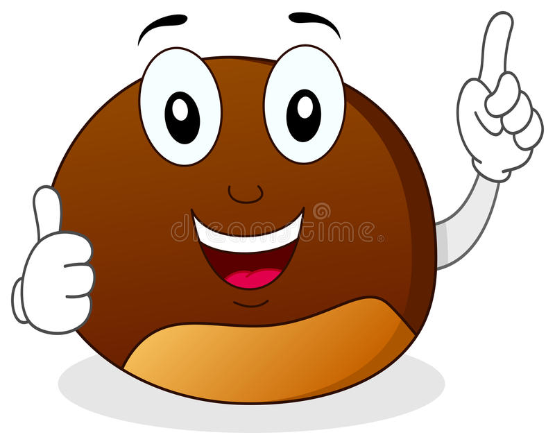 Chestnut Character with Thumbs Up royalty free illustration