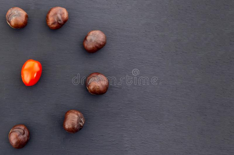 Chestnut circle tomato cherry in the center contrast design on a black background slate base with copy spase royalty free stock photo