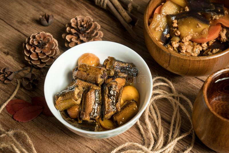 Chestnut fried with finless eel, homemade food. Delicious fried dish huang wei ricefield shredded chinese sauce plate cooking meat fresh meal vegetable dinner stock photos