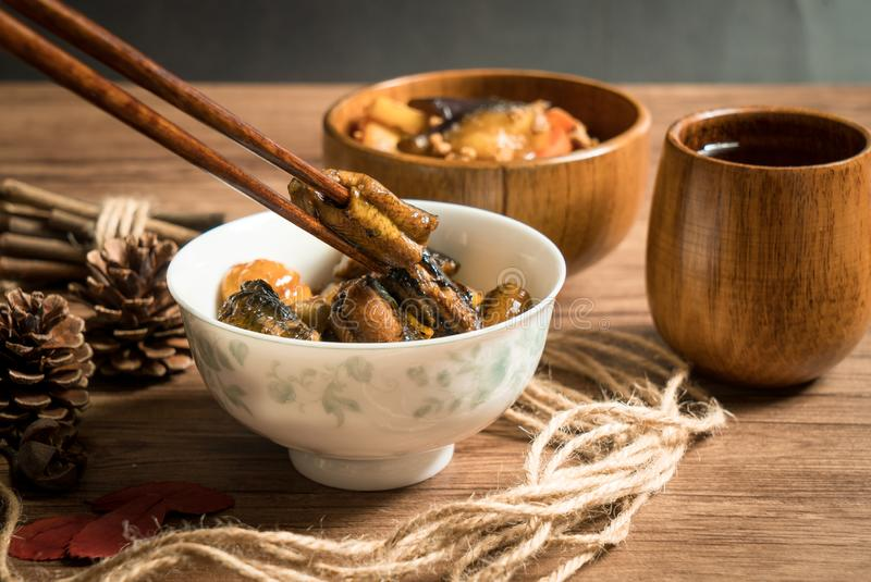 Chestnut fried with finless eel, homemade food. Delicious fried dish huang wei ricefield shredded chinese sauce plate cooking meat fresh meal vegetable dinner royalty free stock photo