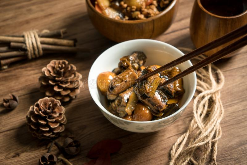 Chestnut fried with finless eel, homemade food. Delicious fried dish huang wei ricefield shredded chinese sauce plate cooking meat fresh meal vegetable dinner royalty free stock photography