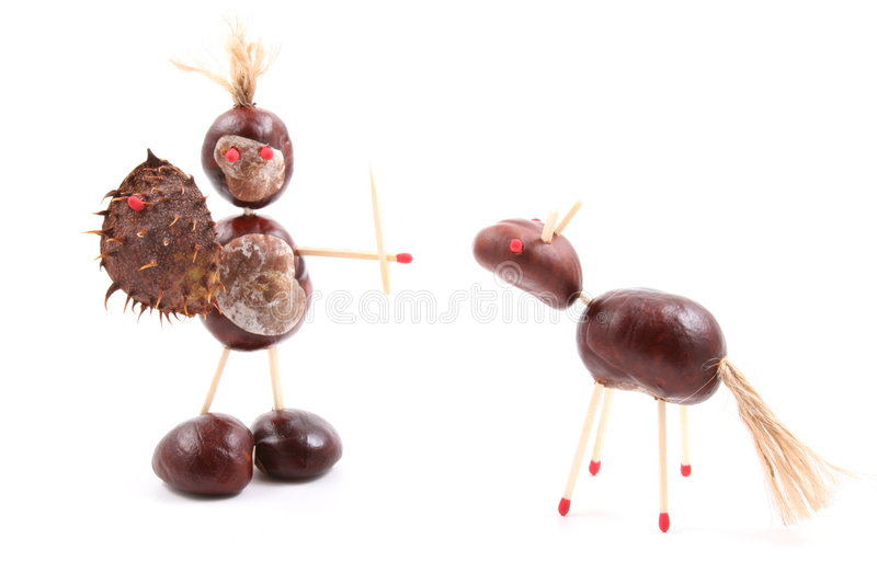 Chestnut man and horse royalty free stock photos