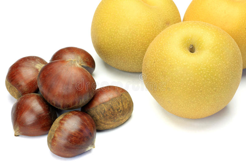 Chestnut and pear royalty free stock image
