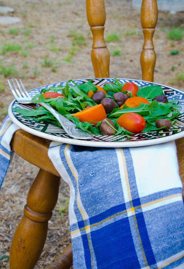Chestnut And Persimmon Salad stock photos
