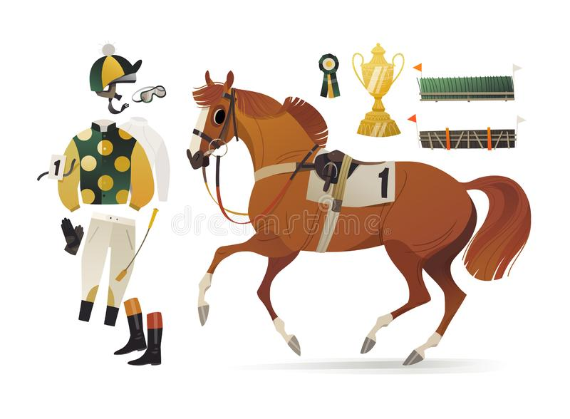 Chestnut thoroughbred horse in common racing harness royalty free illustration