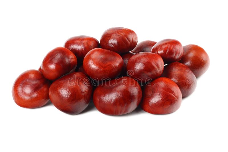 Chestnuts isolated on white background. Healthy background. stock photo
