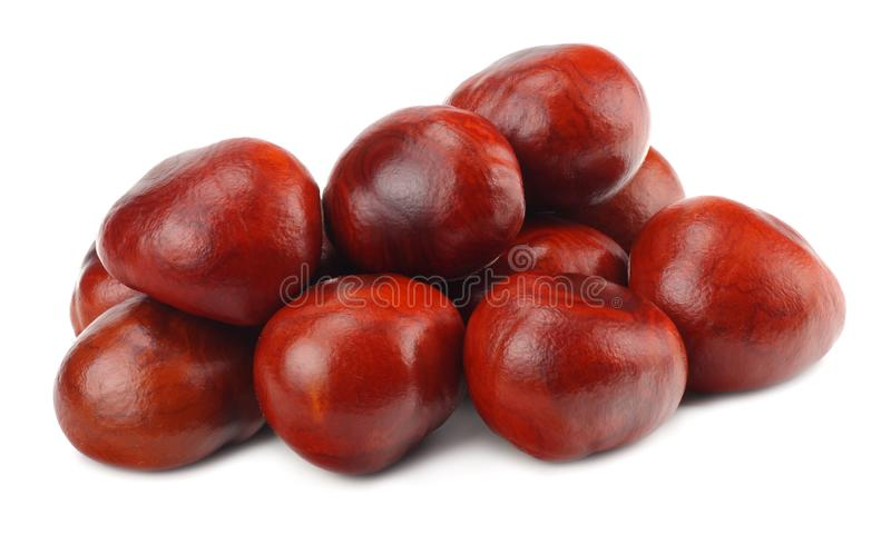 Chestnuts isolated on white background. Healthy background royalty free stock image